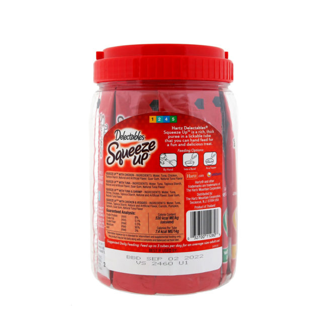 Delectables Squeeze up 48 count jar. Back of package. Squeeze up is an interactive cat treat. Hartz SKU#3270011280