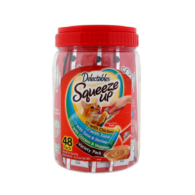 Delectables Squeeze up 48 count jar. Front of package. Squeeze up is an wet cat treat for cats. Hartz SKU#3270011280