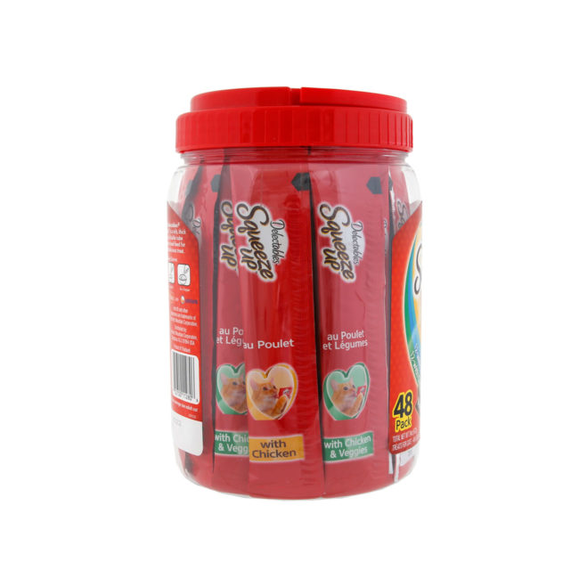 Delectables Squeeze up 48 count jar. Side of package. Squeeze up is a lickable cat treat. Hartz SKU#3270011280