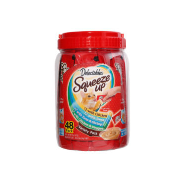 Hartz delectables squeeze up 48 count variety pack. A interactive cat treat and lickable cat treat. A squeeze cat treat from Hartz.