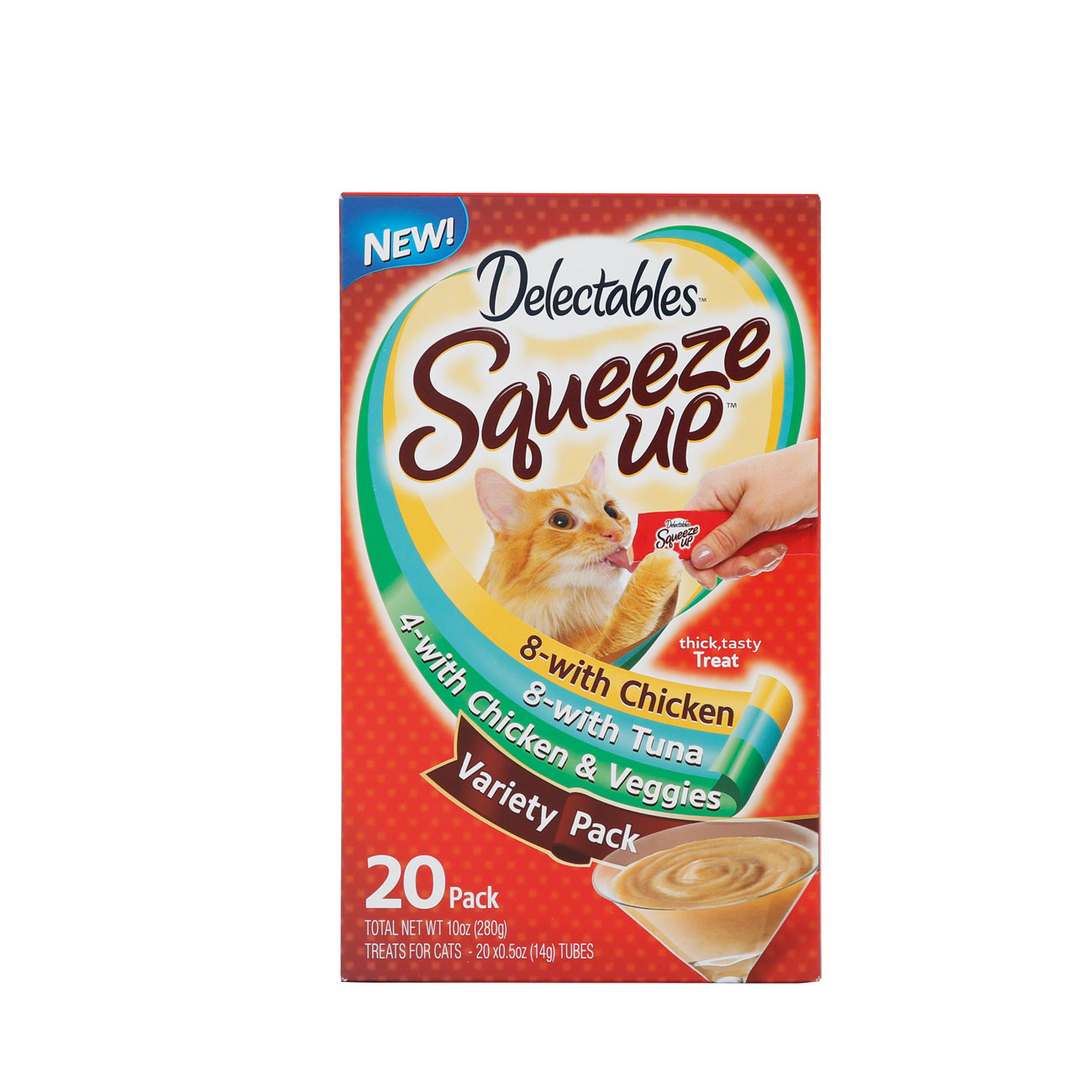 Hartz delectables squeeze up 20 pack variety pack. A wet, interactive, lickable cat treat. Front of package. Hartz SKU#3270015842