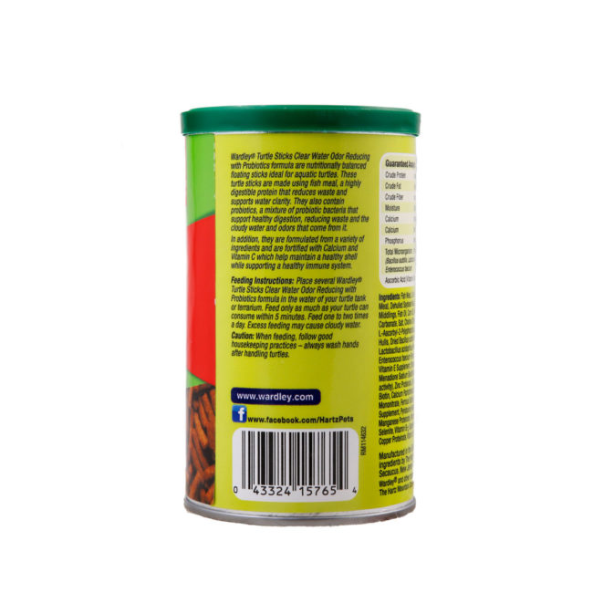 Wardley Turtle Sticks Clear Water odor reducing with probiotics, back of package. Wardley SKU#4332415765