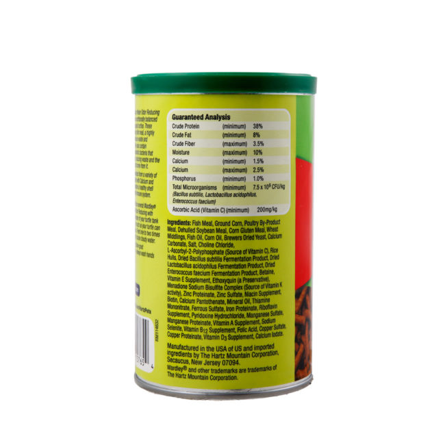 Wardley Turtle Sticks Clear Water odor reducing with probiotics. Back of turtle treat canister. Wardley SKU#4332415765