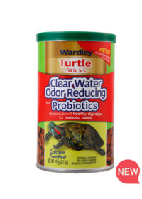 Wardley Turtle Sticks Clear Water odor reducing with probiotics. Front of turtle sticks canister. Wardley SKU#4332415765