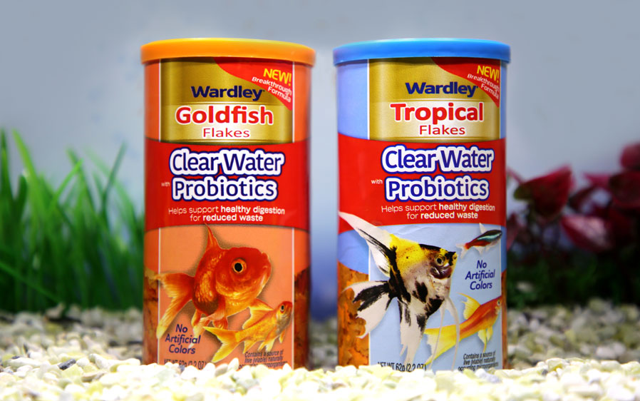 Wardley goldfish flakes and Wardley tropical fish flakes with probiotics.