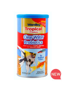 Wardley Clear Water tropical fish flakes. Front of package. Wardley fish food SKU#4332415775