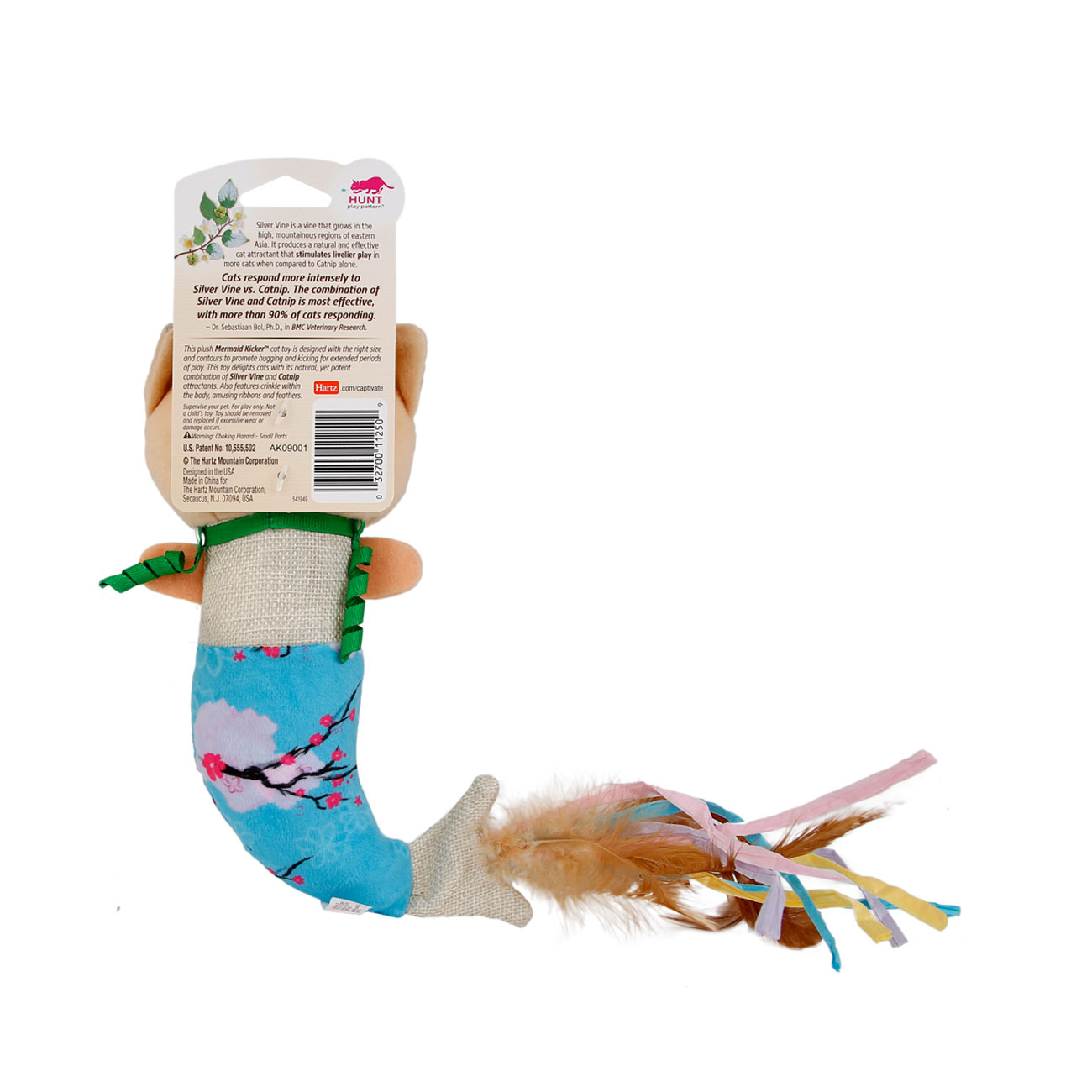 Hartz Captivate cat toy with silver vine and catnip. Back of package. Hartz SKU#3270011250.