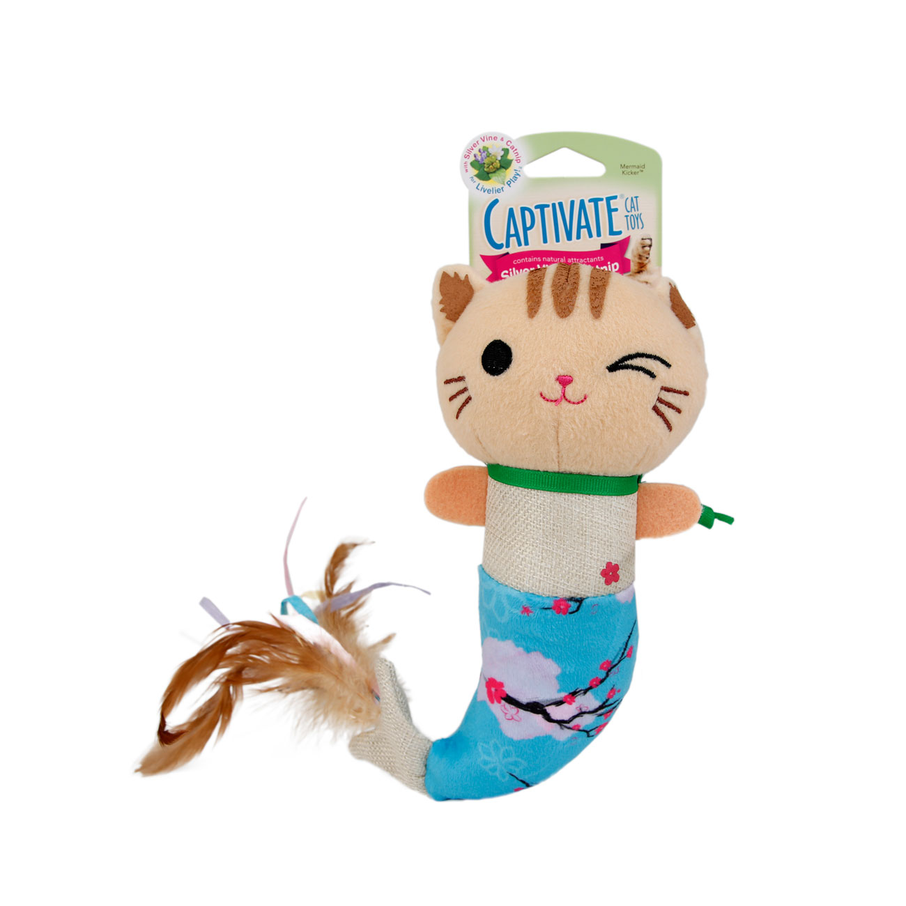 Hartz Captivate mermaid kicker cat toy. Contains silver vine and catnip. Front of package. Hartz SKU#3270011250.