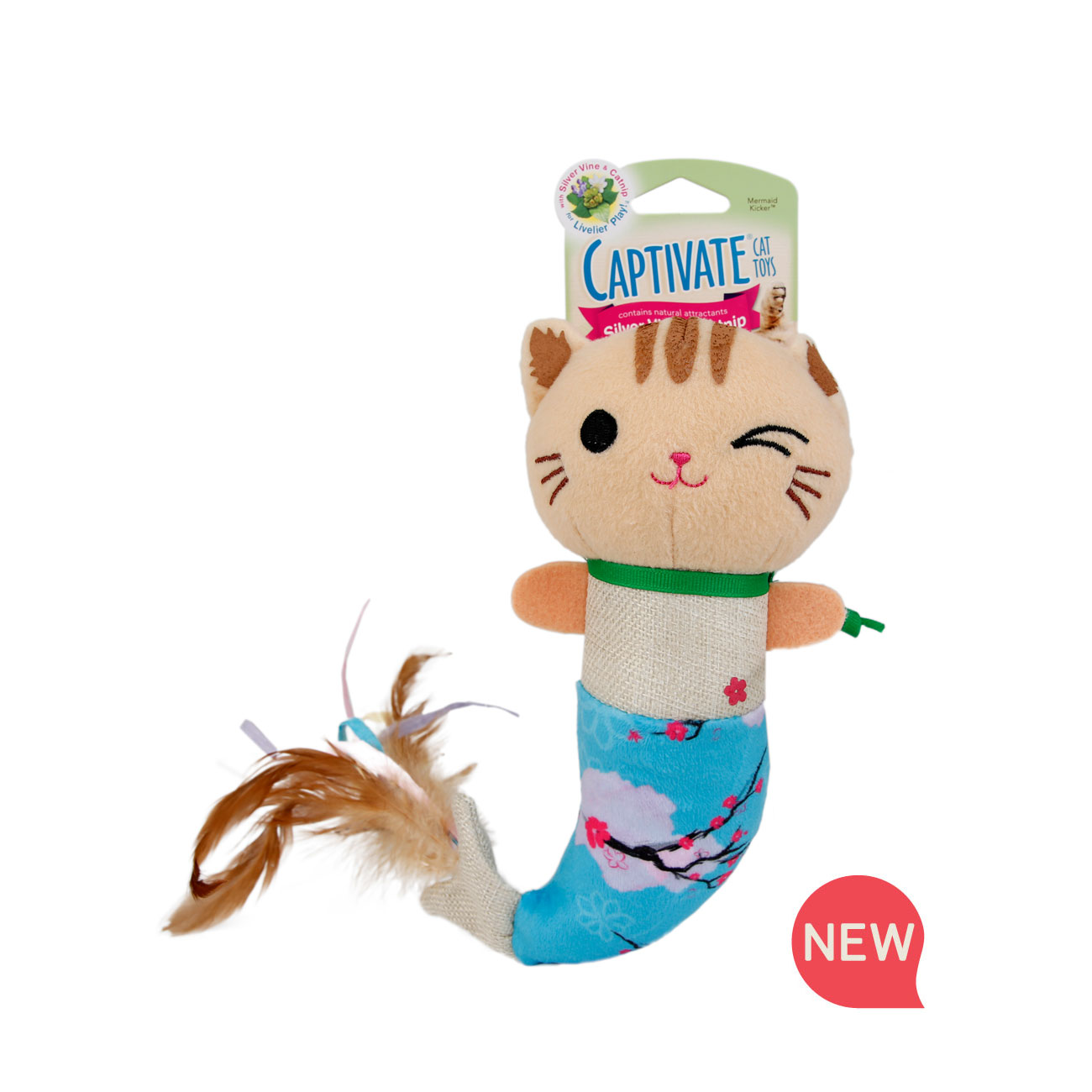 New! Hartz Captivate mermaid kicker cat toy. Contains silver vine and catnip. Front of package. Hartz SKU#3270011250.