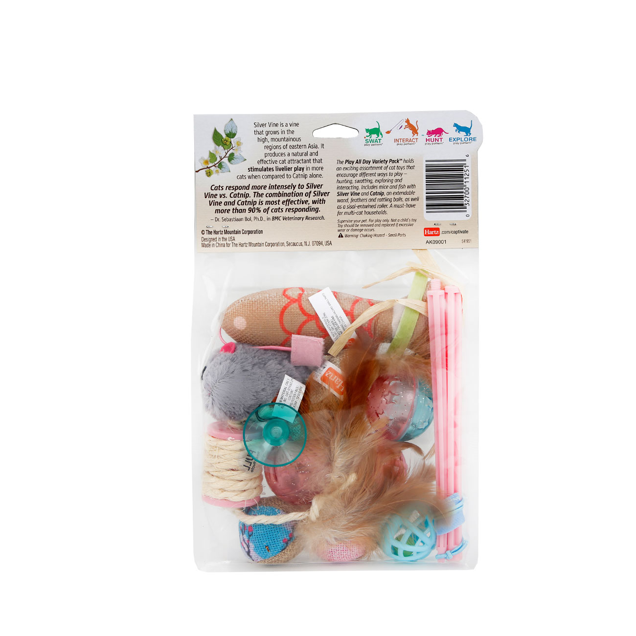 Hartz captivate silver vine cat toy. Variety pack. Back of package. Hartz SKU#3270011251
