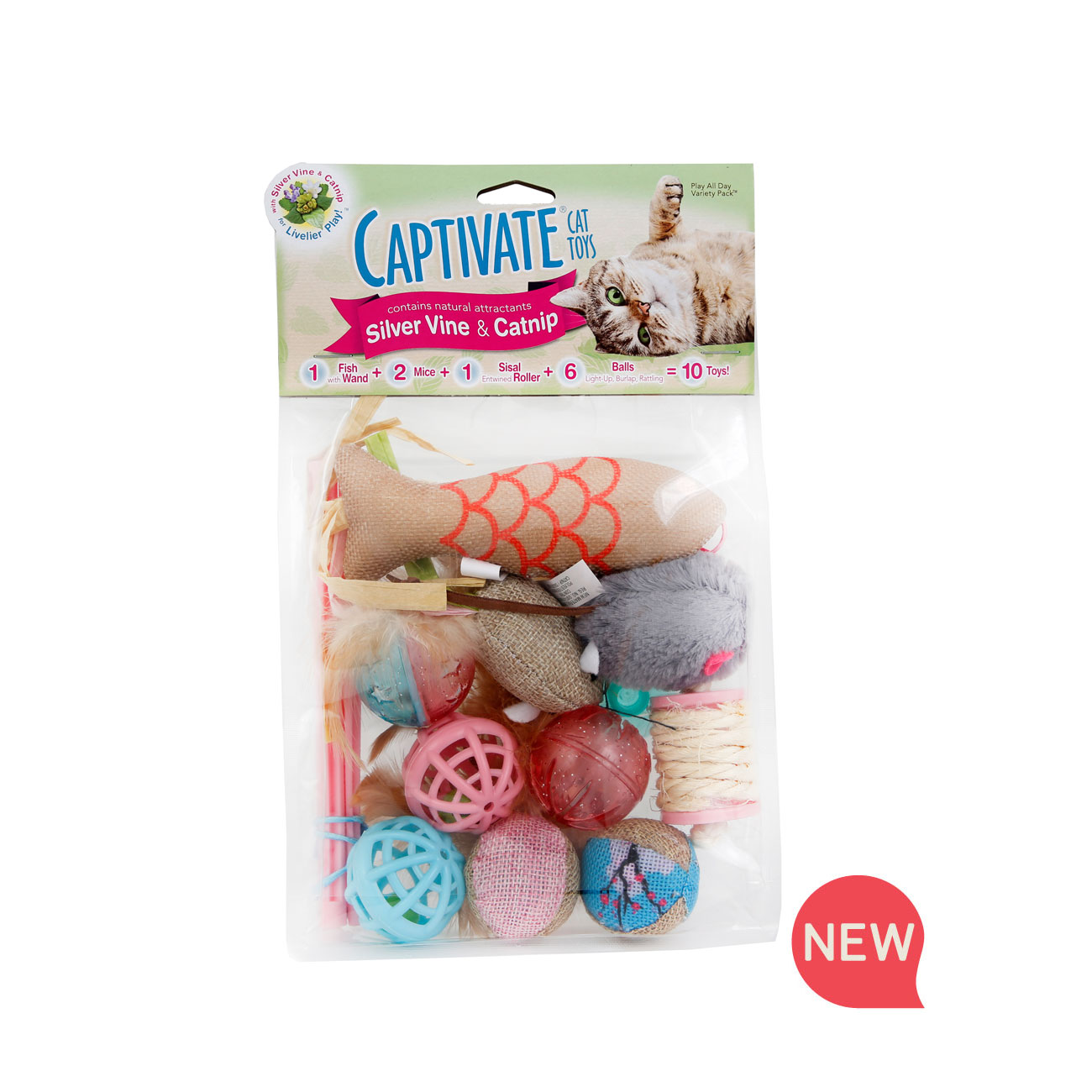 Hartz captivate cat toy with silver vine and catnip. Variety pack. Front of package. Hartz SKU#3270011251