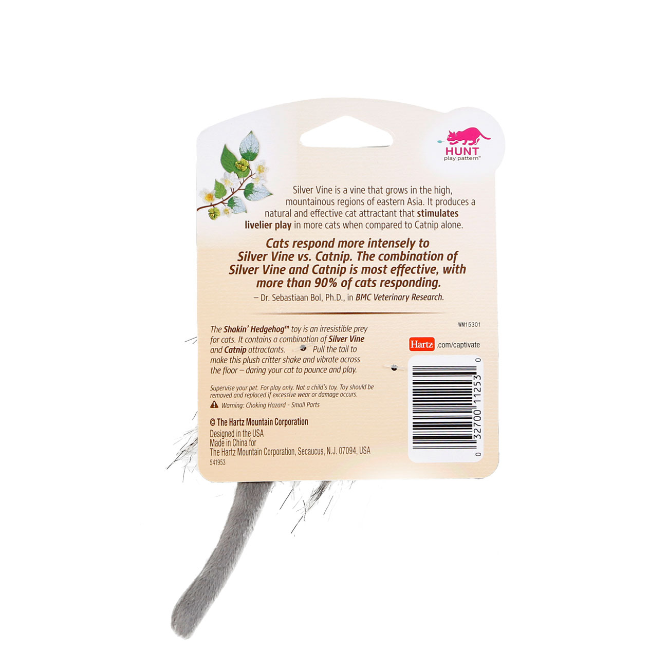 Hartz captivate shakin hedgehog cat toy with silver vine and catnip. Back of package. Hartz SKU# 3270011253