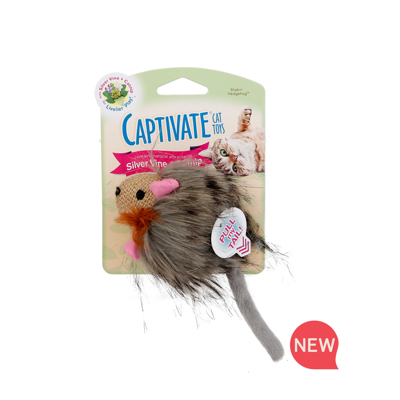 New! Hartz captivate shakin hedgehog cat toy with silver vine and catnip. Hartz SKU#3270011253