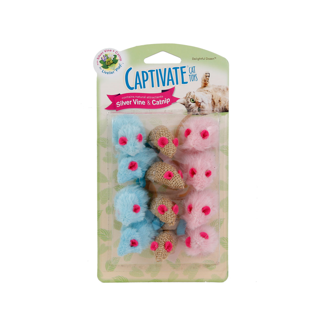 Hartz captivate delightful dozen cat toy with silver vine and catnip. Front of package. Hartz SKU#3270011255
