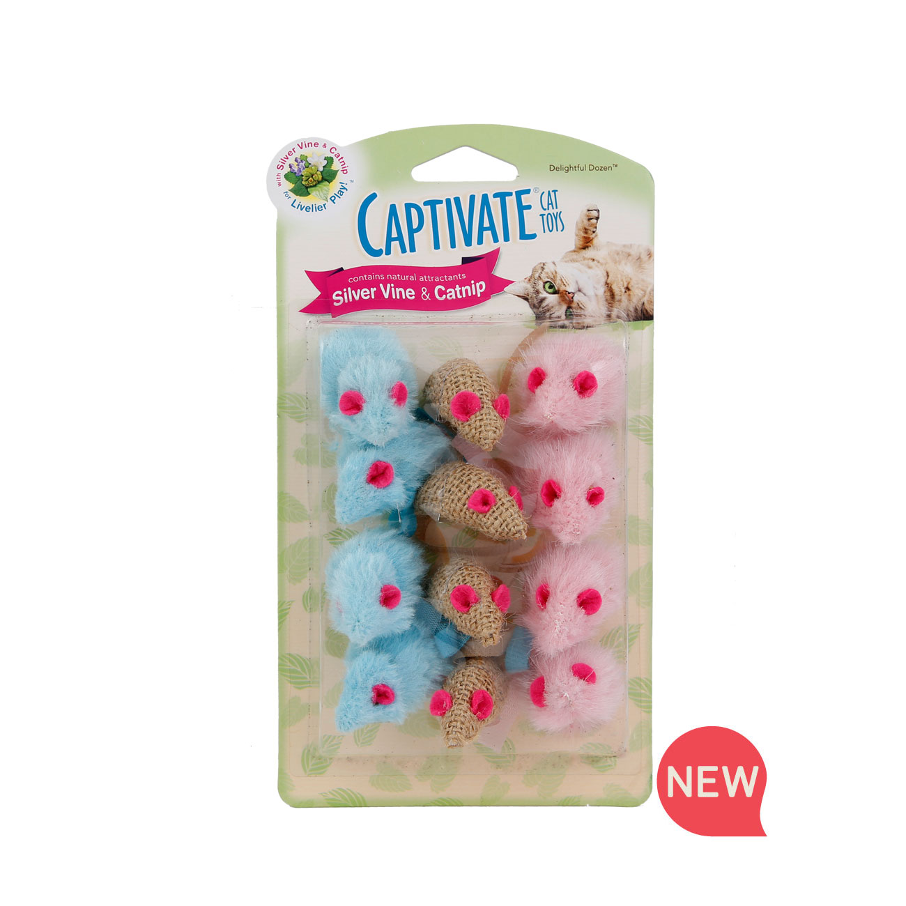 New! Hartz captivate delightful dozen cat toy with silver vine and catnip