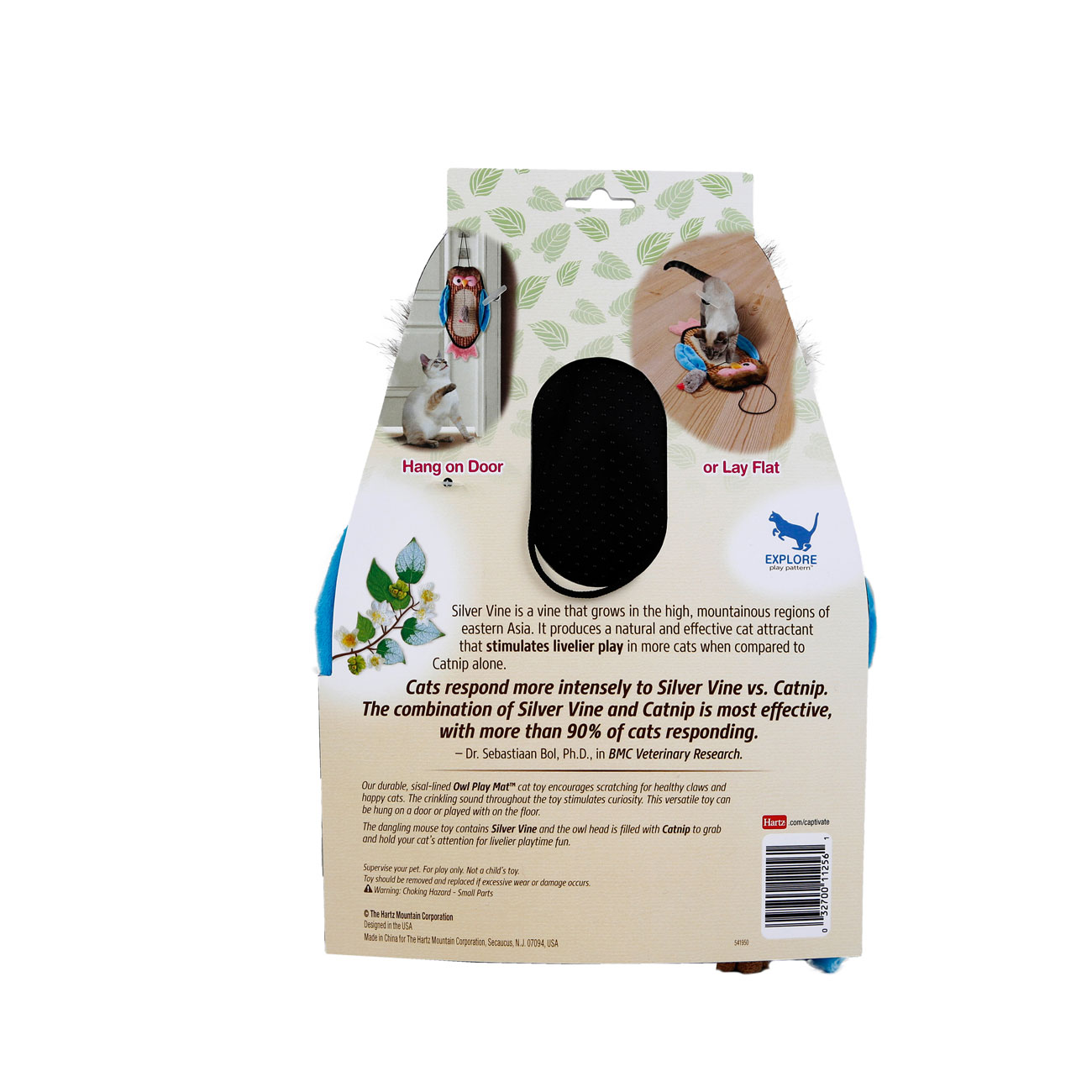 hartz captivate owl play mat with silver vine and catnip. back of package. Hartz SKU#3270011256