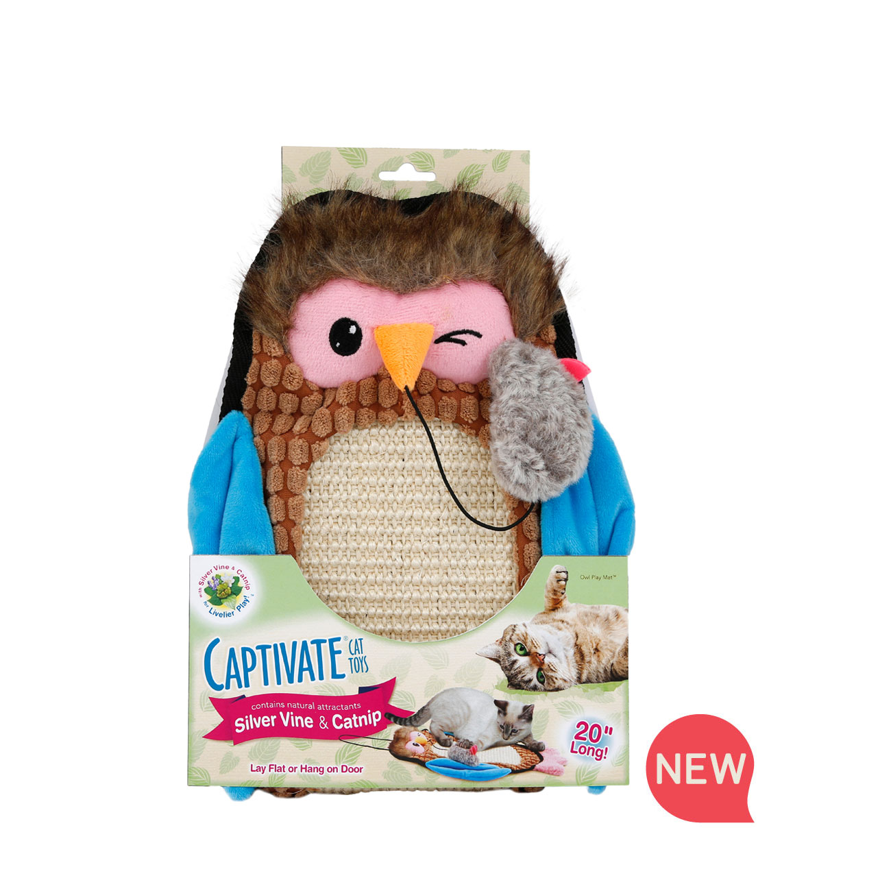 hartz captivate cat toys. owl play mat with silver vine and catnip. Hartz SKU#3270011256