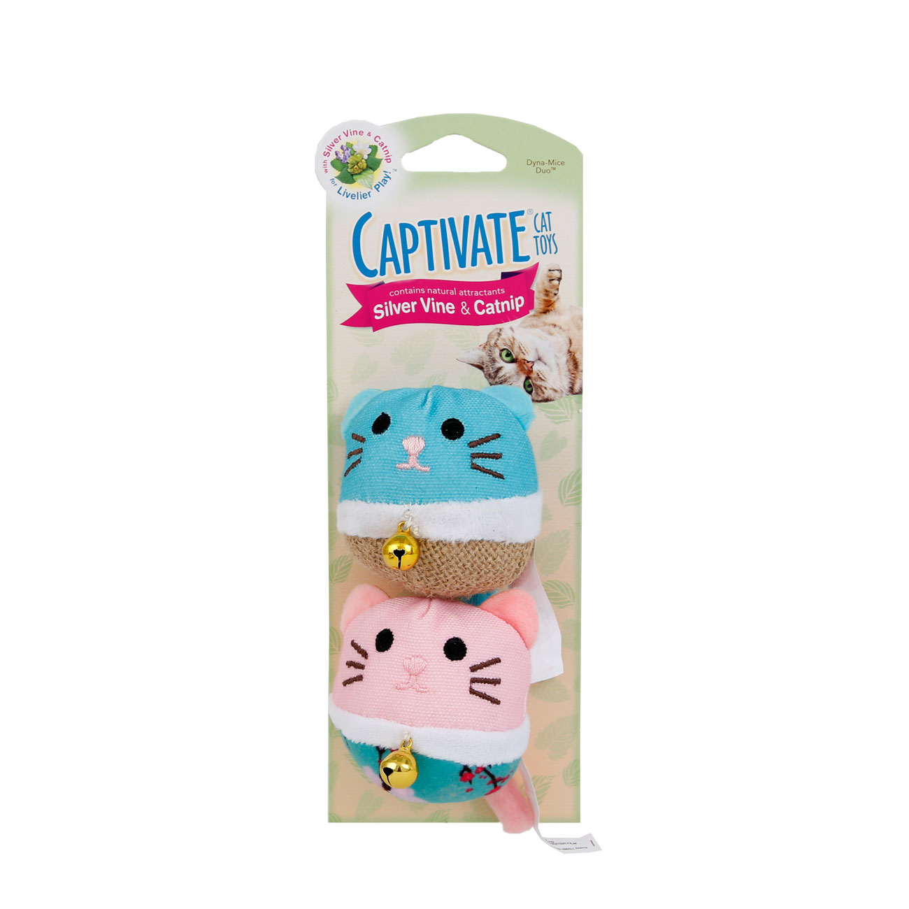 Hartz captivate cat toy with silver vine and catnip. Front of package. Hartz SKU# 3270011258