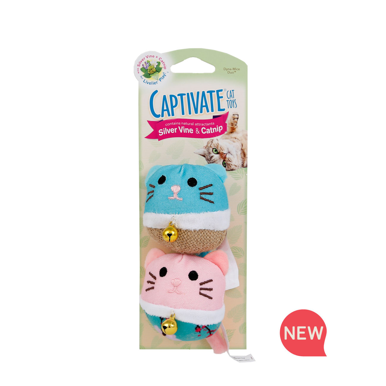 New! Hartz captivate cat toy with silver vine and catnip. Front of package. Hartz SKU# 3270011258