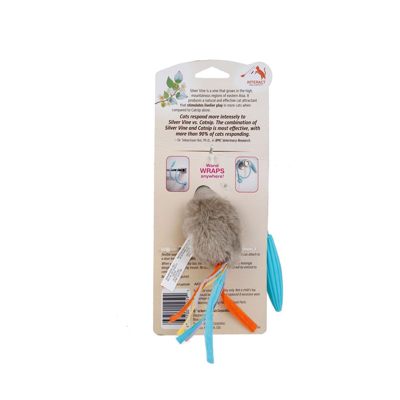 Hartz captivate cat toys flexi wand with silver vine and catnip. Back of package. Hartz SKU#3270011259