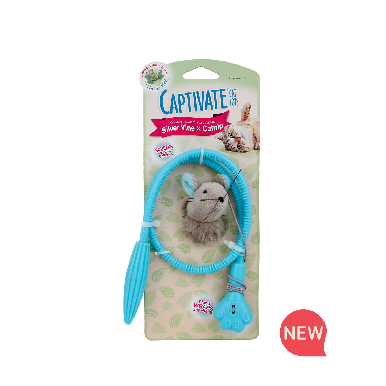 New! Hartz captivate cat toy. flexi wand cat toy with silver vine and catnip. Hartz SKU#3270011259