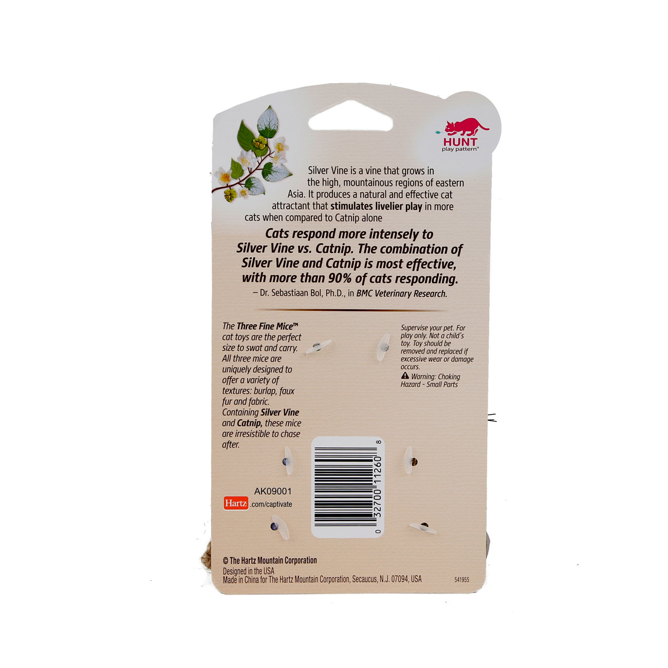Hartz captivate three fine mice cat toy with silver vine and catnip. Back of package. Hartz SKU#3270011260