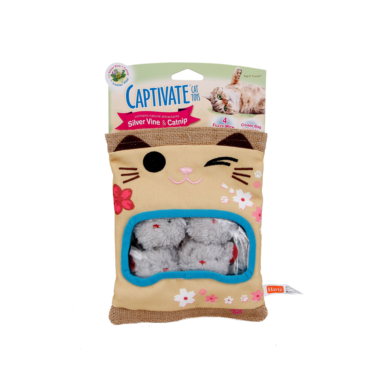 Captivate cat toys with silver vine and catnip. Bag O Fuzzies cat toy. Hartz SKU#3270011261