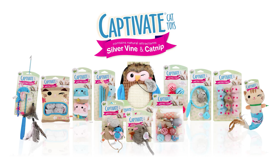 Learn more about Captivate cat toys with silver vine and catnip in our video.