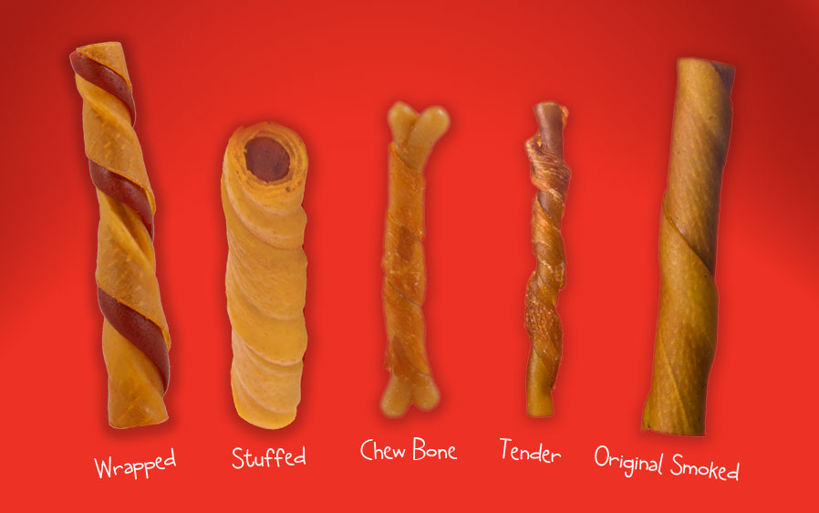 A variety of Hartz oinkies products Wrapped, stuffed, chew bone, tender, and original smoked