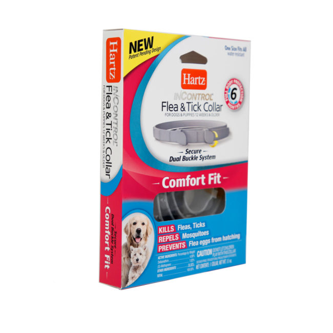 Hartz InControl Flea and Tick Collar for dogs and puppies. Angled image of package. Hartz SKU#3270011282