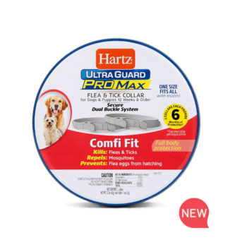 Hartz UltraGuard ProMax Flea & Tick Collar, gray. Front of package. Flea and tick collars for dogs are part of a dog flea treatment program. Hartz SKU# 3270011357