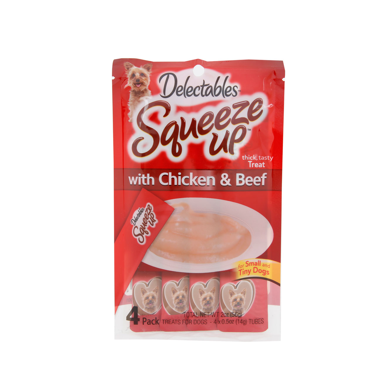 Hartz Delectables Squeeze Up for small dogs. Front of package. Hartz SKU# 3270011370