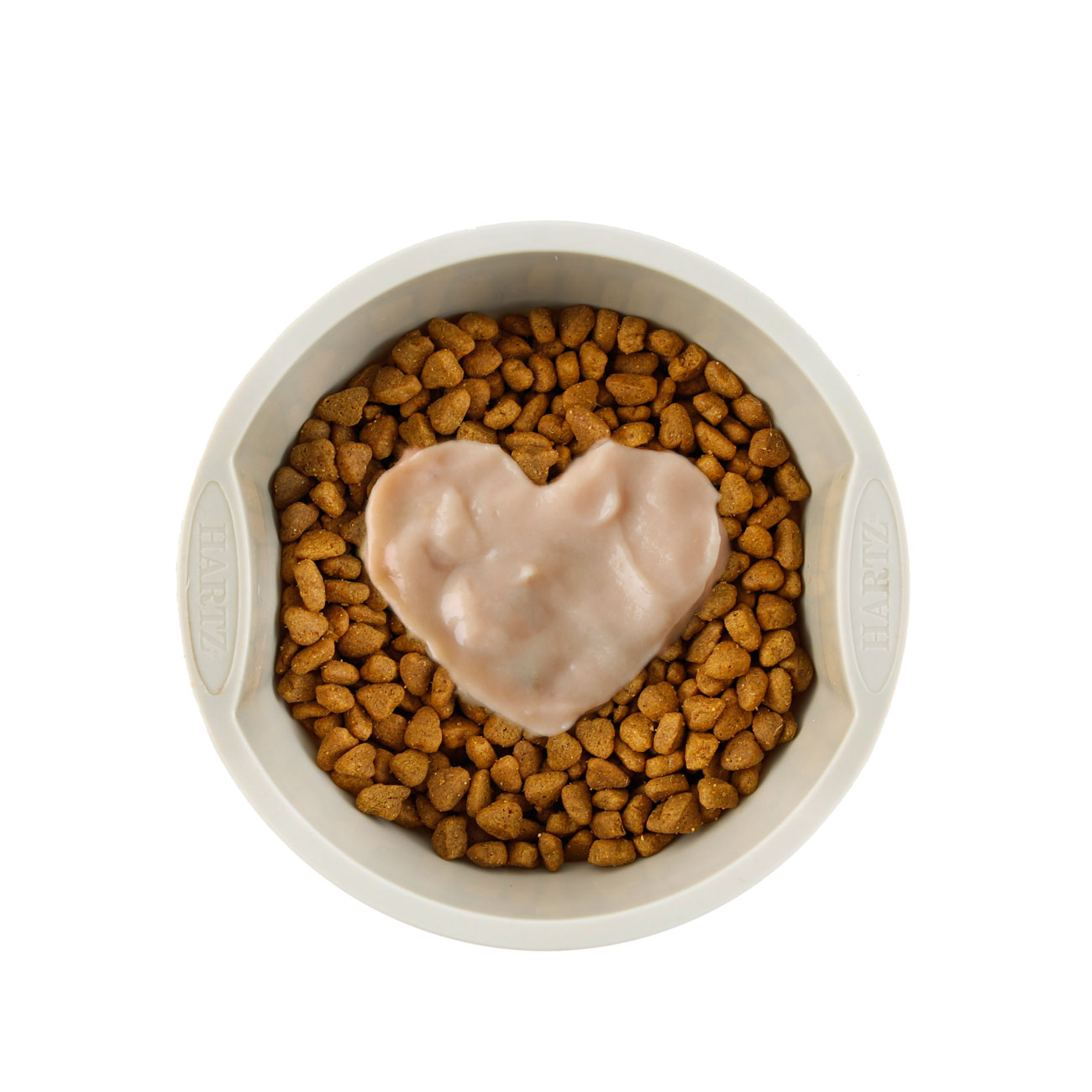 Hartz Delectables Squeeze Up dog treat for small dogs. In bowl used as a dog food topper.