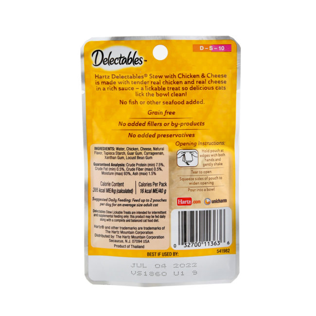 Delectables lickable treat stew chicken & cheese cat treat. Back of package. Hartz SKU#3270011363
