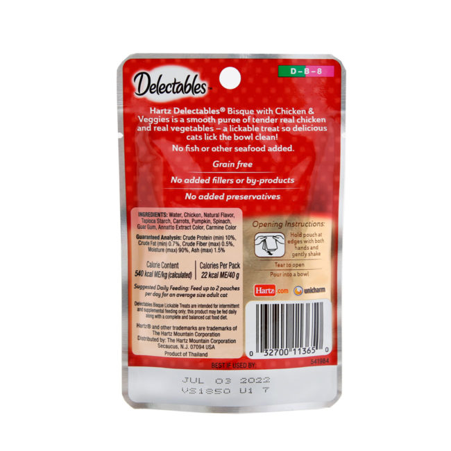 Delectables lickable treat bisque chicken & vegetables cat treat. Back of package. Hartz SKU#3270011365