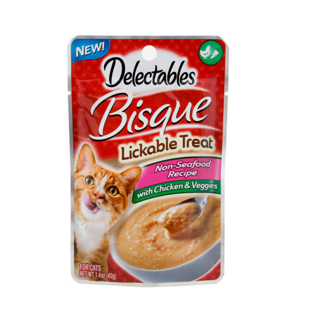 Delectables lickable treat, bisque, chicken & veggies cat treat. Front of package. Hartz SKU#3270011365
