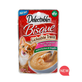 New! Delectables lickable treat, bisque, chicken & veggies cat treat. Hartz SKU#3270011365