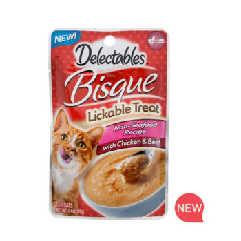 New! Delectables lickable treat, bisque, chicken & beef cat treat. Hartz SKU#3270011366