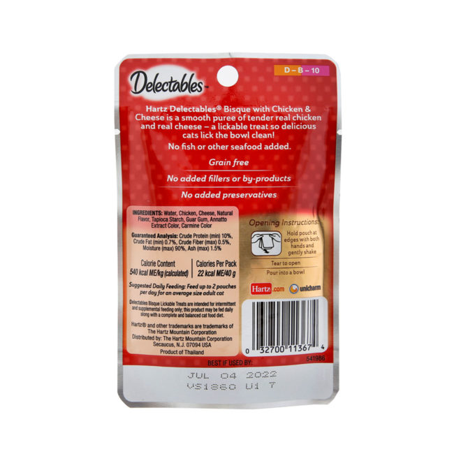 Delectables lickable treat bisque chicken & cheese cat treat. Back of package. Hartz SKU#3270011367