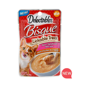 New! Delectables lickable treat, bisque, chicken & cheese cat treat. Hartz SKU#3270011367