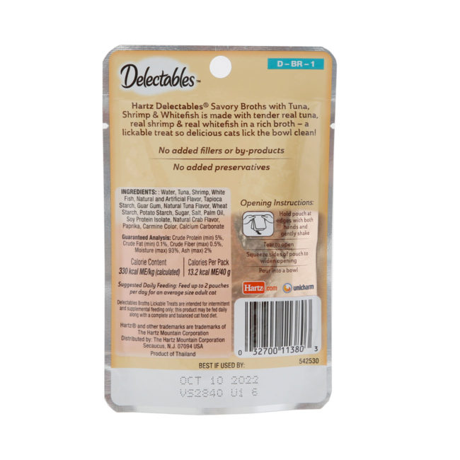 Delectables Lickable Treat Savory Broths for cats, tuna, shrimp and whitefish wet cat treat. Back of package. Hartz SKU# 3270011380.