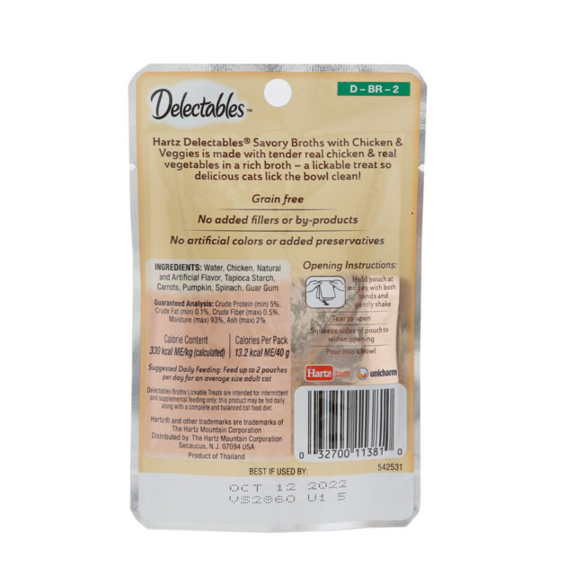 Delectables Lickable Treat Savory Broths for cats, chicken and vegetable wet cat treat. Back of package. Hartz SKU# 3270011381.
