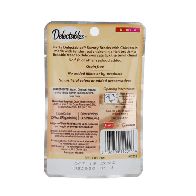 Delectables Lickable Treat Savory Broths for cats chicken wet cat treat. Back of package. Hartz SKU# 3270012001.