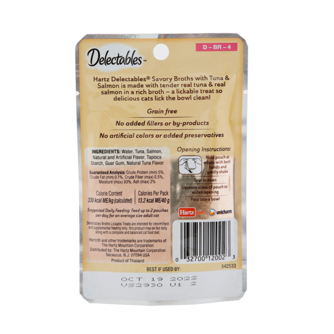 Delectables lickable treat, broths, tuna & salmon. Back of package. Hartz SKU#3270012002
