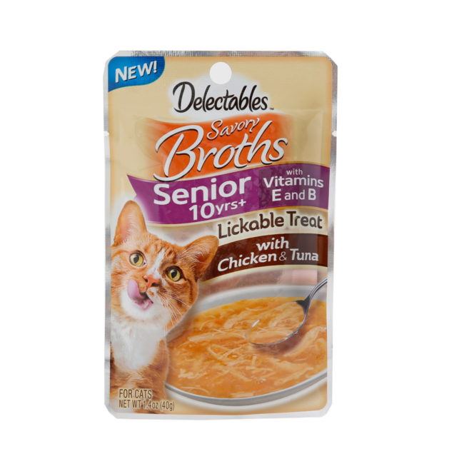 Delectables lickable treat, broths, chicken & tuna senior cat treat. Front of package. Hartz SKU#3270012015