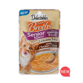 New! Delectables lickable treat, broths, chicken & tuna senior cat treat. Hartz SKU#3270012015