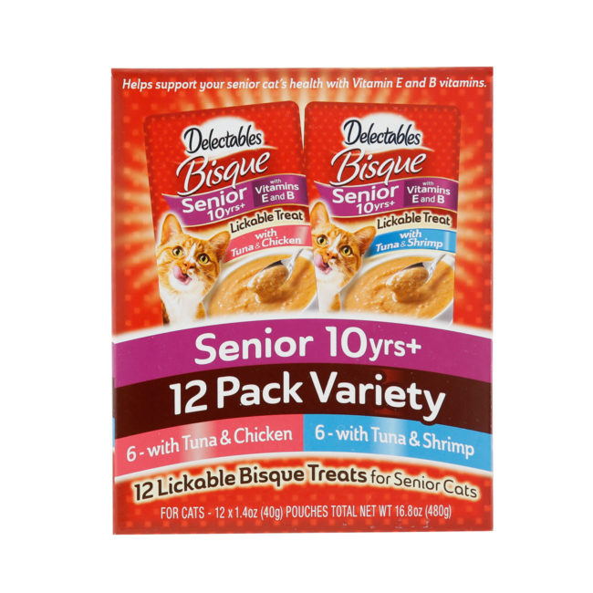 Delectables lickable treat, senior bisque variety pack. Tuna & chicken and tuna & shrimp senior cat treats. Front of container. Hartz SKU#3270012019
