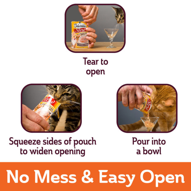 No mess and easy to open. Wet cat treat.