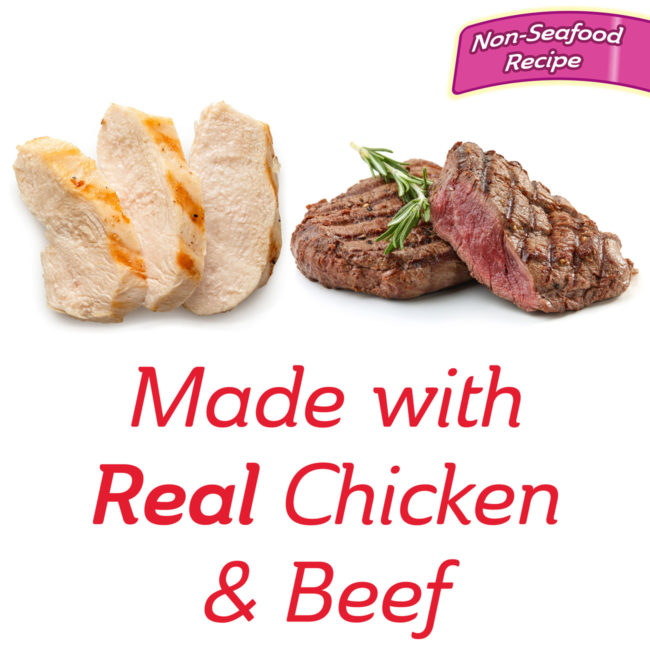Made with real chicken and beef cat treat.