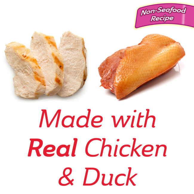 Made with real chicken and duck cat treat.